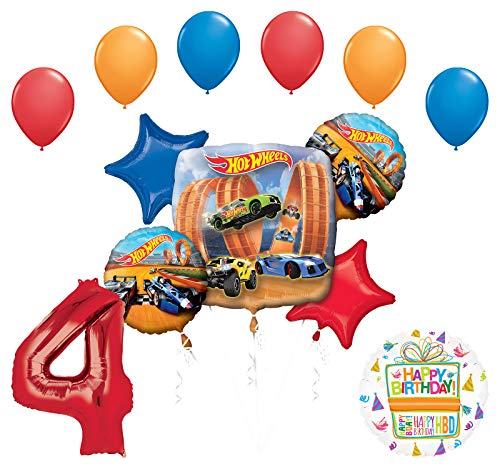 Mayflower Products Hot Wheels Party Supplies 4th Birthday Balloon Bouquet Decorations