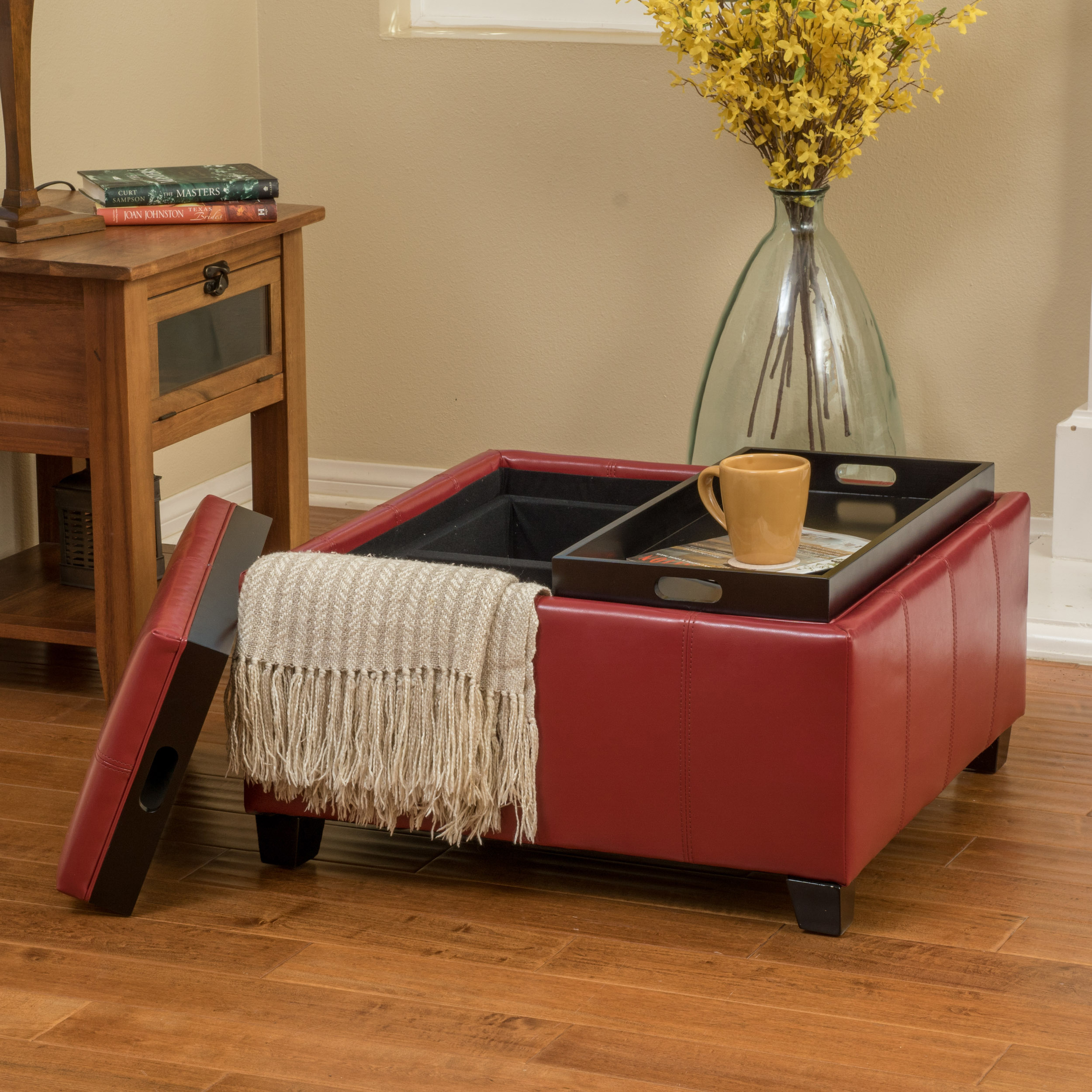 Noble House Lindero Double Tray Top Faux Leather Storage Ottoman, Red