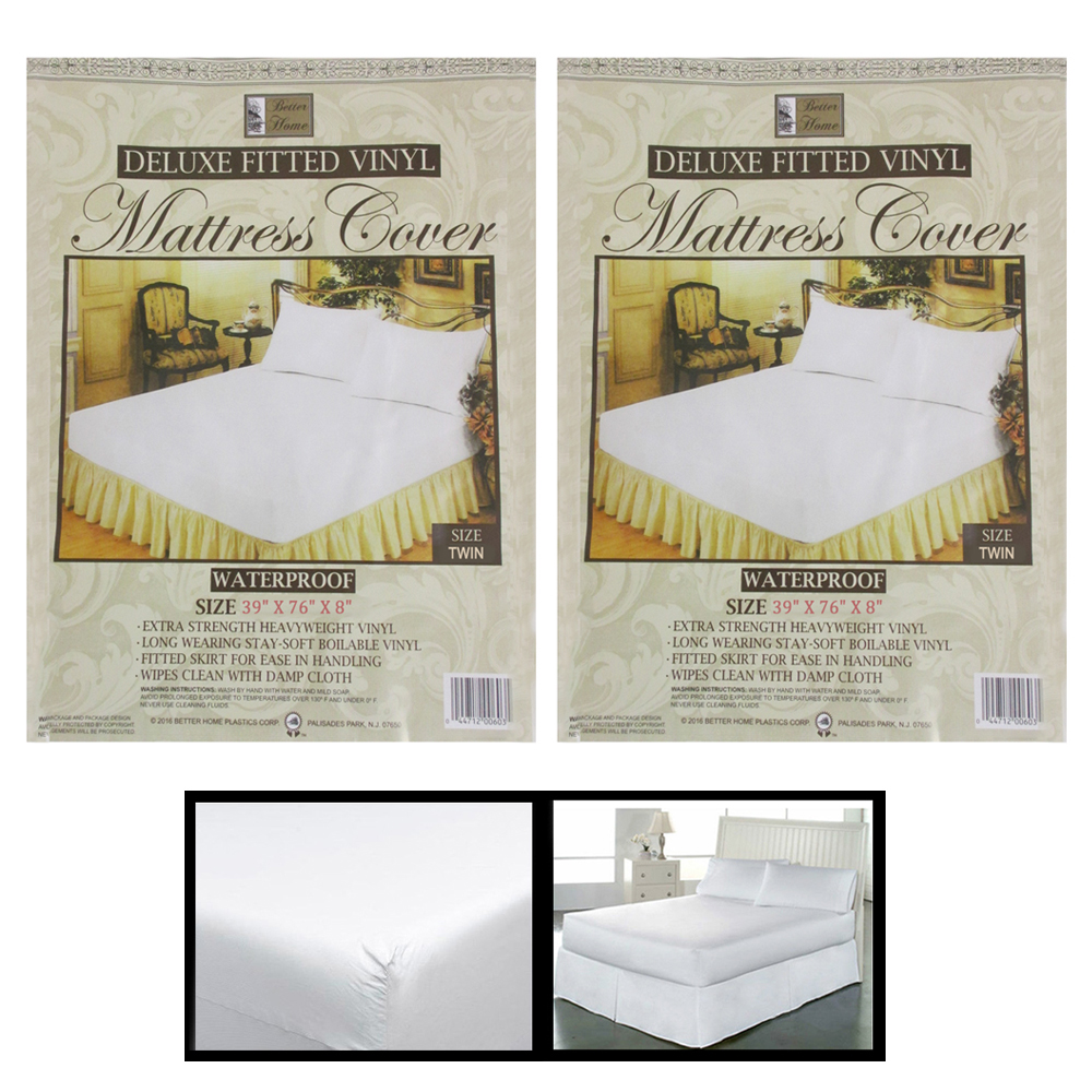 2X Twin Size Fitted Mattress Covers Vinyl Waterproof Allergy Dust Bugs Protector