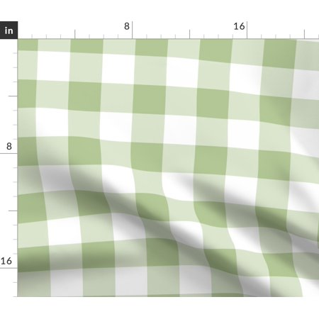 Plaid Green White Gingham Vintage Home Tartan Fabric Printed by Spoonflower BTY