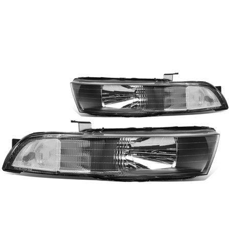 For 1999 to 2003 Mitsubishi Galant Headlight Black Housing Clear Corner Headlamp 00 01 02 Left+Right