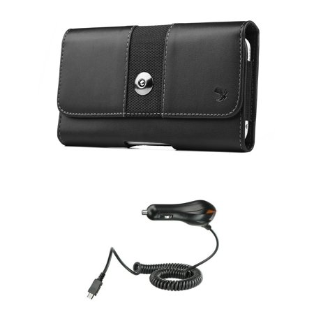 ZTE Majesty Pro LTE / Pro Plus - Bundle: Synthetic Leather [Belt Clip Loops] Holster Pouch Case (Fits Slim Cases), (1,100 mAh Power Output) Micro USB Car Charger and Atom LED Charger Leather Case Lcd