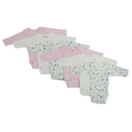 Bambini CS-103NB-103NB Girls Long Sleeve Printed Variety, White & Pink - Newborn - image 1 de 1