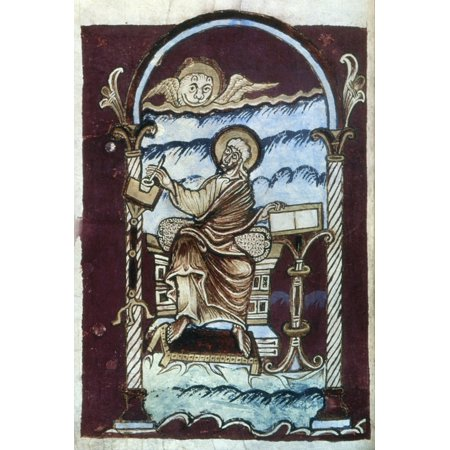 Saint Mark Nin An Illumination From Late 10Th Century French Latin Gospel Rolled Canvas Art -  (24 x 36) (Illumination Lace)