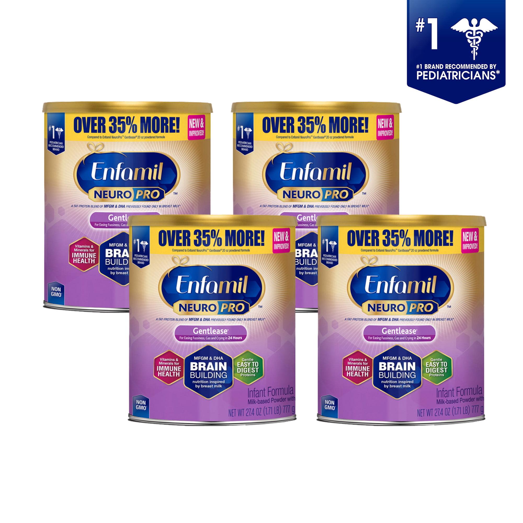 Enfamil Gentlease NeuroPro Baby Formula, 27.4 oz Powder Value Can (4 Pack) by Enfamil Gentlease