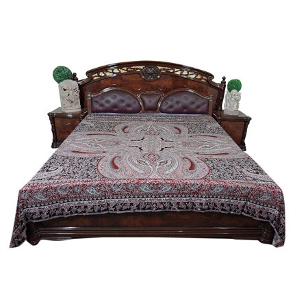Mogul Ethnic Indian Reversible Kashmiri Jamavar Bedspread Coverlet Bedding  Home D  cor. Mogul Ethnic Indian Reversible Kashmiri Jamavar Bedspread Coverlet
