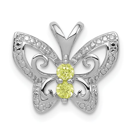 925 Sterling Silver Rhodium Plated Peridot and Diamond Butterfly Shaped Pendant - image 2 of 2