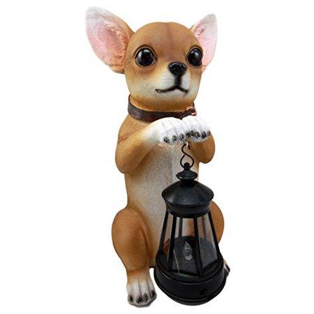 Ebros Gift Deer Head Mexican Aye Chihuahua Dog Garden Patio Figurine W/ Solar LED Light Lantern Lamp 14