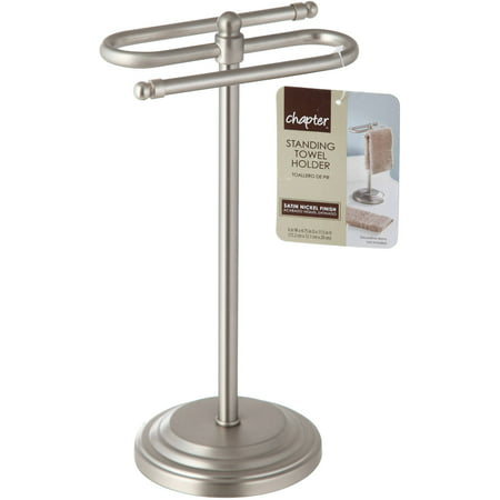 Chapter Free Standing Towel Holder Satin Nickel