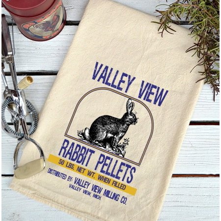 Rabbit Covered Dish - Farmhouse Natural Flour Sack Valley View Rabbit Pellets Country Kitchen Towel