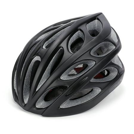 Adult Bike Helmet, Gonex Cycling Road Helmet with Safety Light, Adjustable 58-62cm, 24 Integrated Flow Vents All Black
