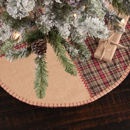 Natural Tan Rustic Christmas Decor Clement Cotton Patchwork Whipstitch Textured Plaid Round 21
