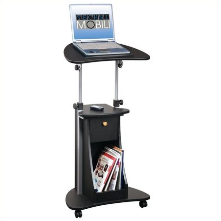 Pemberly Row Deluxe Height Adjustable Laptop Cart in Black ()