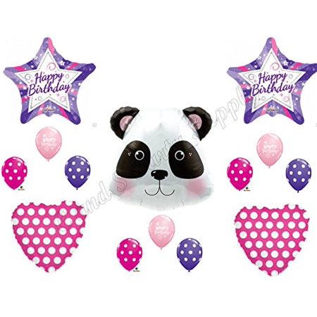PANDA Happy Birthday Balloons Decoration Supplies Party Children Girl Zoo pink
