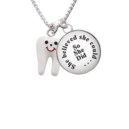 """Enamel Tooth She Believed She Could So She Did Glass Dome Necklace, 18""""+2"""""""