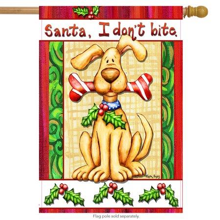 Santa, I Don't Bite Christmas House Flag Dog Holiday Humor 28