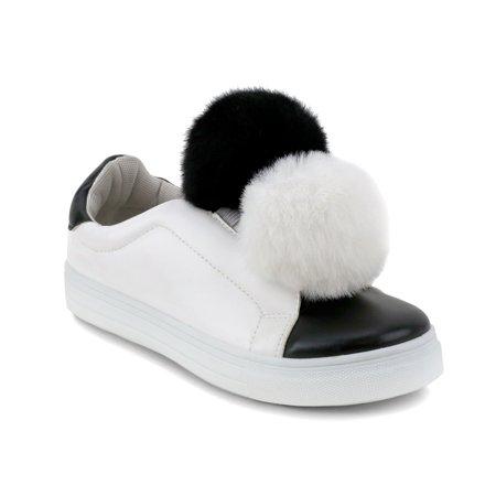 dad21f2c3bef Olivia Miller  Baywood  Double Pom Pom Two Tone Sneakers - Walmart.com
