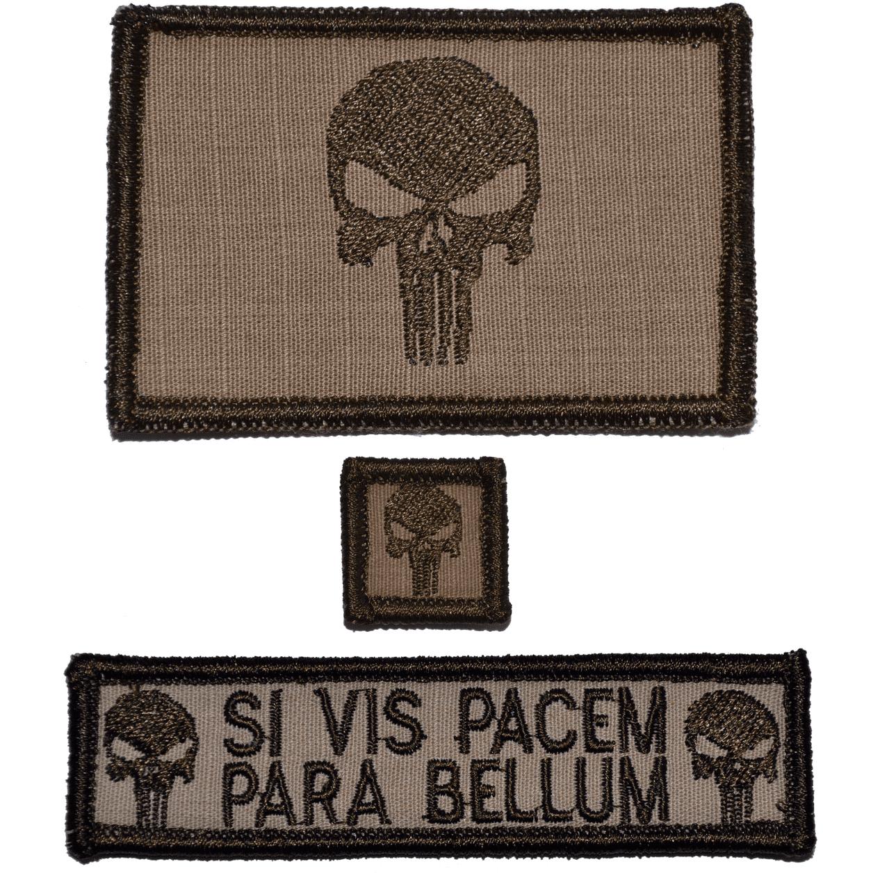 Patch Set: Punisher Skull 2x3, Si Vis Pacem 1x3.75, Punisher Skull 1x1