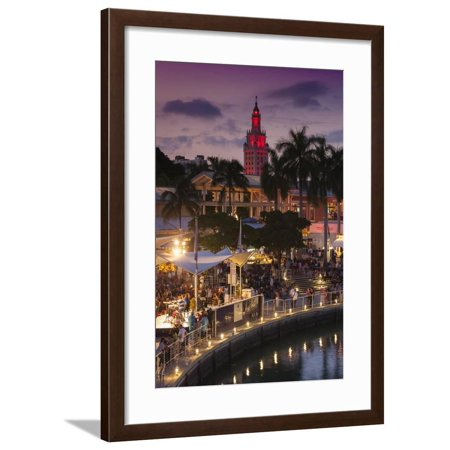 USA, Florida, Miami, City Skyline with Bayside Mall and Freedom Tower Framed Print Wall Art By Walter (Tower Place Mall)
