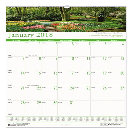 House of Doolittle Recycled Gardens of the World Monthly Wall Calendar, 12 x 12, 2018