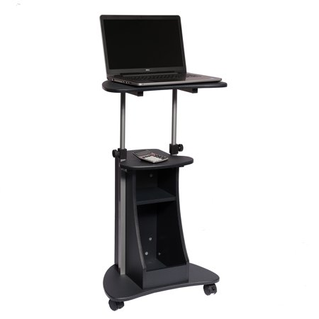 - Techni Mobili Sit-to-Stand Rolling Adjustable Height Laptop Cart With Storage, Graphite