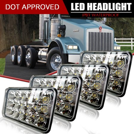 DOT Approved 4X6 LED Headlight Hi/Lo Sealed Beam Replace H4651 H4656 Hid Bulb Headlamps KW Kenworth T600 W900 T800 Truck Peterbilt 379 378 Freightliner FLD120 FLD112