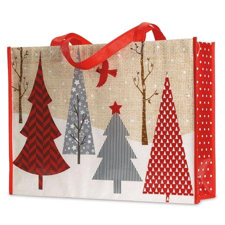 Red and Gray Trees Christmas Shopping Tote - Reusable Holiday Shopping Bag ()