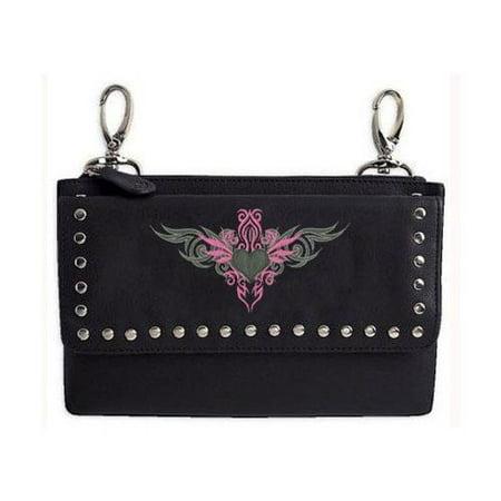 Leather Biker Hip Purse, Embroidered Pink Tribal Design
