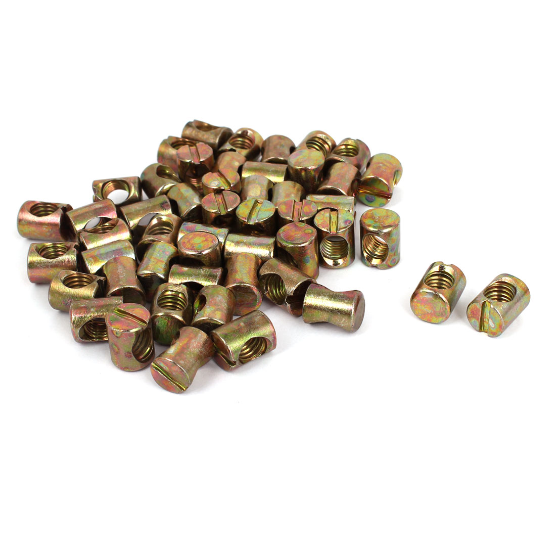 Unique Bargains M8x12mmx15mm Barrel Bolts Cross Dowel Slotted Furniture Nut (50-pack)