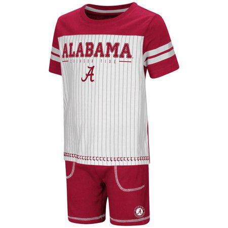 (Toddler Alabama Crimson Tide Pinstripe Tee Shirt and Shorts Set - 2T)