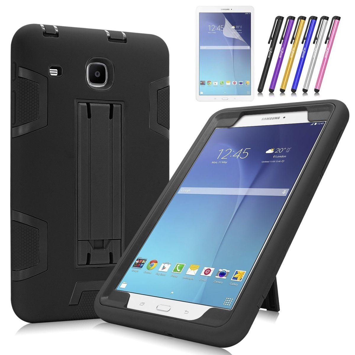 Mignova Galaxy Tab E 8.0 Case, Heavy Duty Hybrid Protective Case with Build In Kickstand For Samsung Galaxy Tab E 8.0 Inch SM-T377 T375 T378 + Screen Protector Film and Stylus Pen (Black / Black)