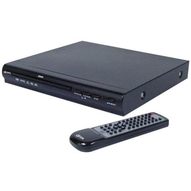 2-Channel GPX DVD Player with Remote Control - Black