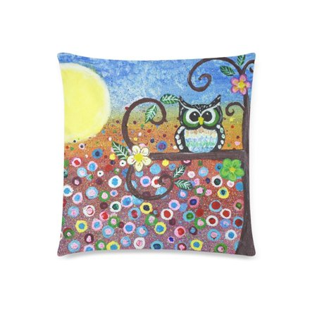 ZKGK Abstract Cute Vintage Owl in Forest Floral Print Cartoon Pillowcase for Couch Bed 18 x 18 Inches,Oil Painting Owl Flower Colorful Pillow Cover Case Shams Decorative ()
