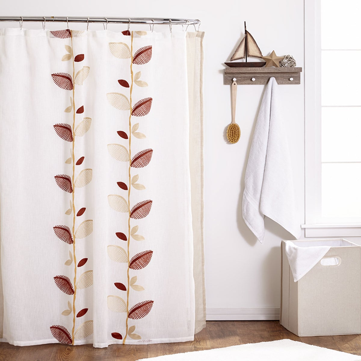 bed bath n more Embroidered Ivory Linen Leaf Shower Curtain and Hooks Set or Separates