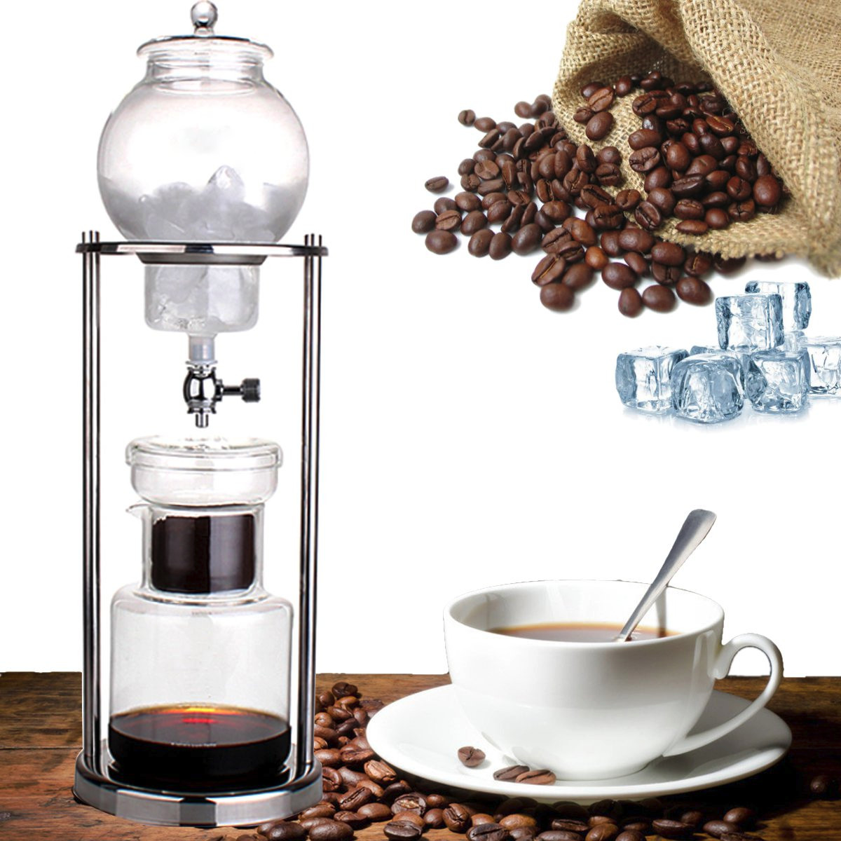 1Pc Dutch Coffee Cold Drip Water Drip Brew Coffee Maker Serve For 10cups 1000ml New