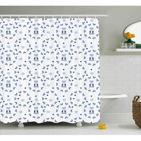 Kids Shower Curtain Baby Nursery Design Ribbons Teddy Bears Children Hearts Art Fabric Bathroom Set With Hooks Navy Blue Purple Grey White