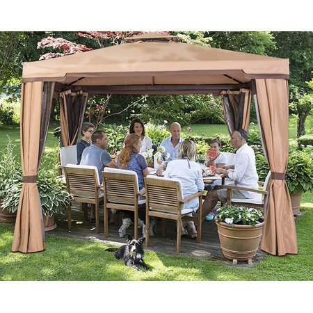 Suncrown Outdoor Garden Gazebo 10' x 10' Patios Gazebo All-Season Permanent Gazebo w/Vented Soft Canopy, Double Square Tops & Mosquito Netting- Beige | Front Porch, Sand ()