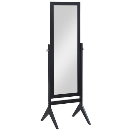 Goplus Full Length Rectangular Floor Mirror Tilt Wood Frame Free Standing Cheval Black