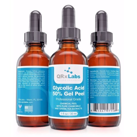 Glycolic Acid 50% Gel Peel with Chamomile and Green Tea Extracts - Professional Grade Chemical Face Peel for Acne Scars, Collagen Boost, Wrinkles, Fine Lines - Alpha Hydroxy Acid - 1 fl
