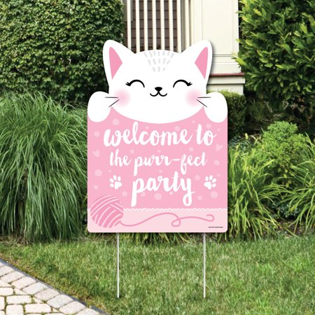 Purr-FECT Kitty Cat - Party Decorations - Kitten Meow Baby Shower or Birthday Party Welcome Yard - Cat Birthday Party