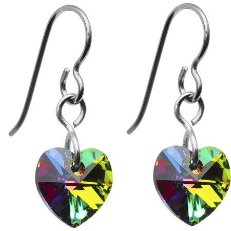 Heart Titanium Earrings - Solid Titanium Vitrail Heart Earrings Created with Swarovski Crystals