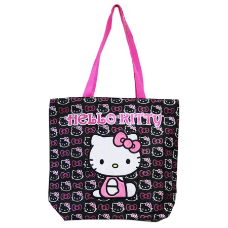 Hello Kitty Face and Hair Bow Pattern Black and White Medium Size Tote Bag - Hello Kitty Laptop Bag