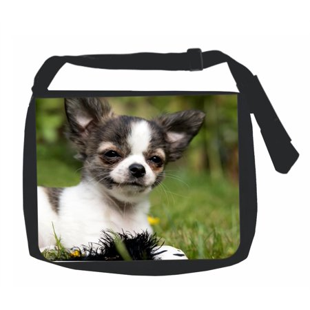 Chihuahua Bag (Happy Chihuahua Puppy Dog - Black Laptop Shoulder Messenger Bag and Small Wire Accessories Case Set )