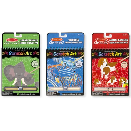 Scratch Art Animals (Melissa and Doug On the Go Scratch Art Activity Books Set, Safari Animals, Animal Families,)