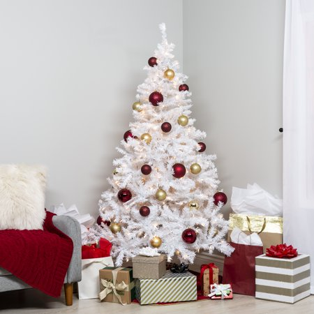 Best Choice Products 6-foot Hinged Artificial Christmas Pine Tree Holiday Decoration with 250 Warm White Lights, Metal Stand, 1,000 Tips, Easy Assembly,
