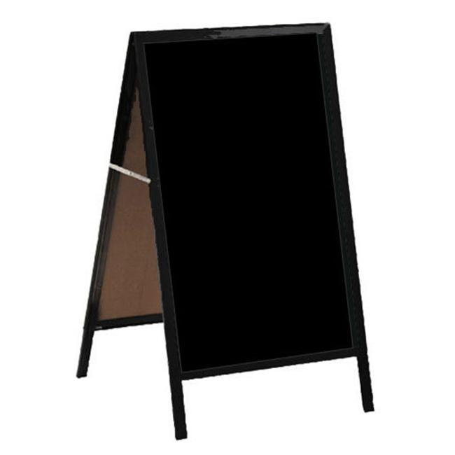 Aarco Products A-11 A-Frame Sidewalk Board Black Markerboard Red Oak Frame