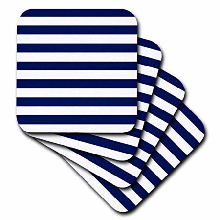 3dRose Navy Blue and White Stripes, Ceramic Tile Coasters, set of 4