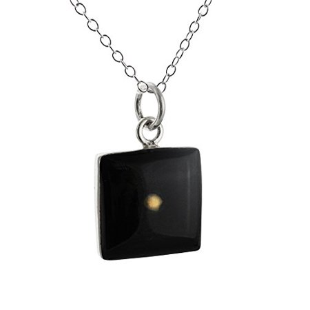 Sterling Silver Mustard Seed Pendant Necklace - Black, Square