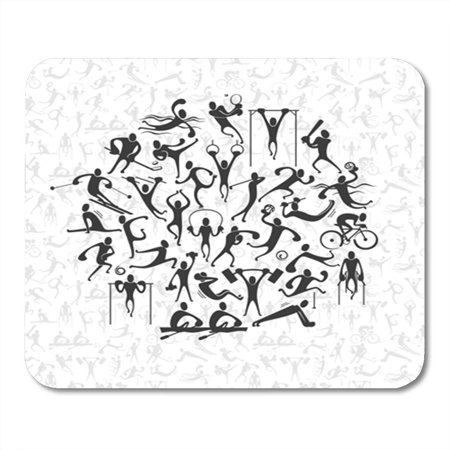 SIDONKU Background People Symbols Representing Different Sport Activities and Athletics Silhouette Mousepad Mouse Pad Mouse Mat 9x10 inch