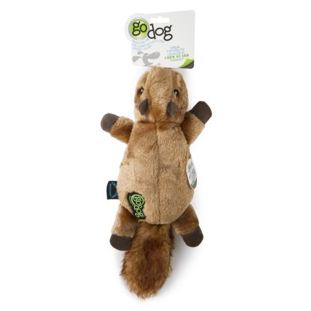 goDog® Flatz™ Squirrel with Chew Guard Technology™ Durable Plush Squeaker Dog Toy